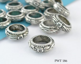 11mm Large Hole Beads Pewter Ring Floral Detail, Antique Silver (PWT 186) 12 pcs BlueEchoBeads