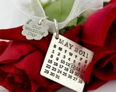Mark Your Calendar Bouquet Charm with Our Wedding Day Flower Charm - personalized sterling silver necklace with pearl