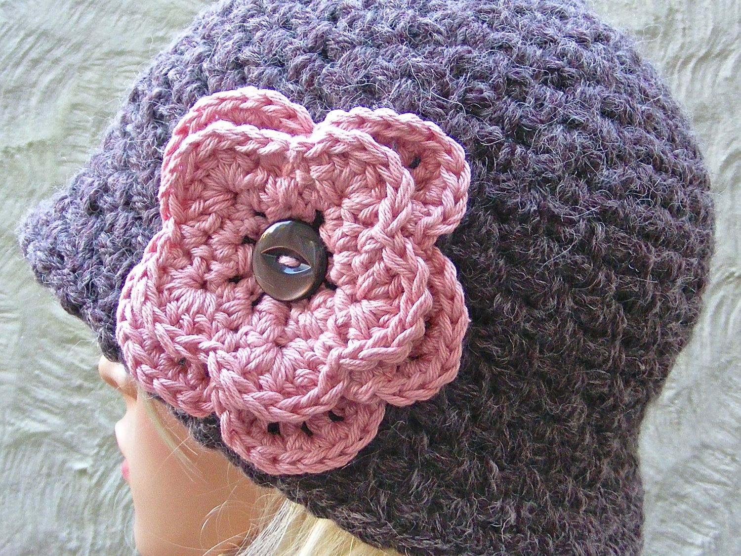Medium Crochet Flower Pattern : Items similar to Hat with Flower CROCHET PATTERN - Ladies ...