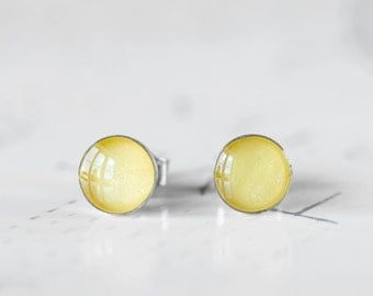 Canary Yellow Round Resin Stud Earrings - Lemon Yellow Shimmer Post Earrings