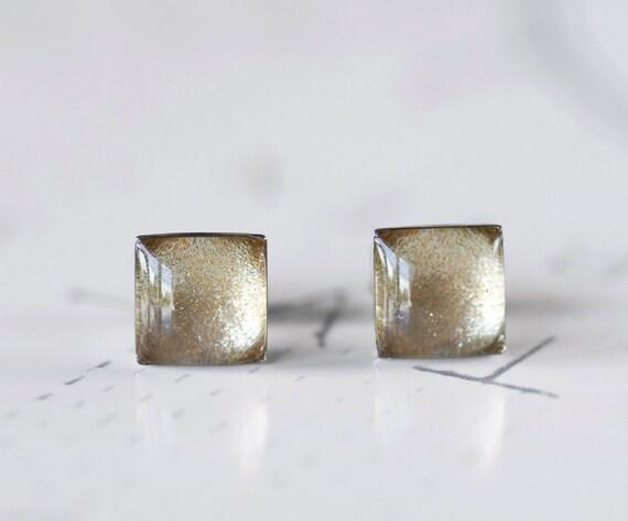 Champagne Shimmer Square Resin Stud Earrings - Pale Ivory Beige Sparkle Post Earrings