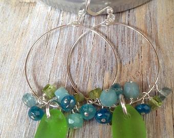 Apple Green, Genuine Sea Glass Hoop Earrings with Stones