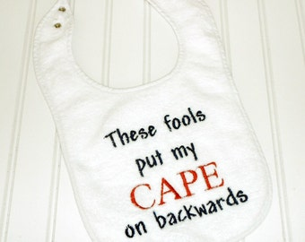 READY TO SHIP Super Hero in training embroidered 100% cotton terry cloth bib for baby and toddlers Red, white and bl