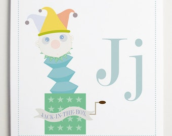 Jj is for Jack-in-the-Box Alphabet Print by Modernpop - Wall Letter J