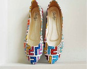 90's technicolor geometric Shapes Shoes, Flats, 80s flats, dress shoes, art deco