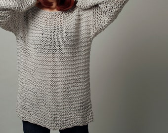 Simple is the best - Hand knitted sweater Eco cotton oversized light grey- ready to ship