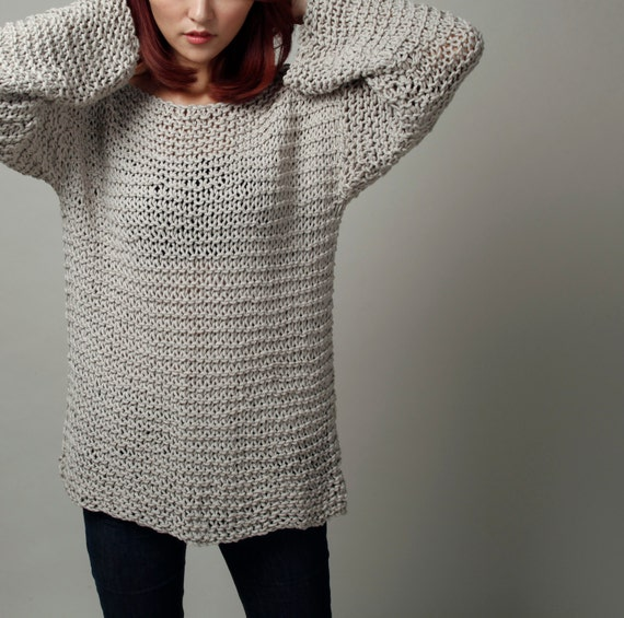 Simple is the best Hand knit sweater Eco cotton oversized