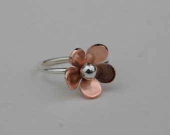 Copper and Silver Jasmine Ring, Copper Flower, Silver and Copper, Flower Jewelry, Silver Ring, FIne Silver, Cute Flower RIng