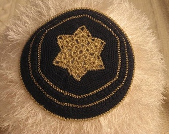 Gold & Black Kippah - CROCHET PATTERN ONLY