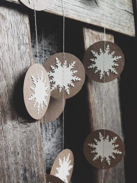 Snowflake Garland - Winter Decor - Christmas Decoration - Holiday Decor - Party Decor - Christmas Garland - Winter Wedding - Cusom Lengths