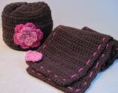 Winter Hat and Scarf Set with Double Flower Applique Size 2-4yrs