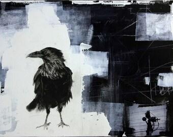 Urban Crow - mixed media- print