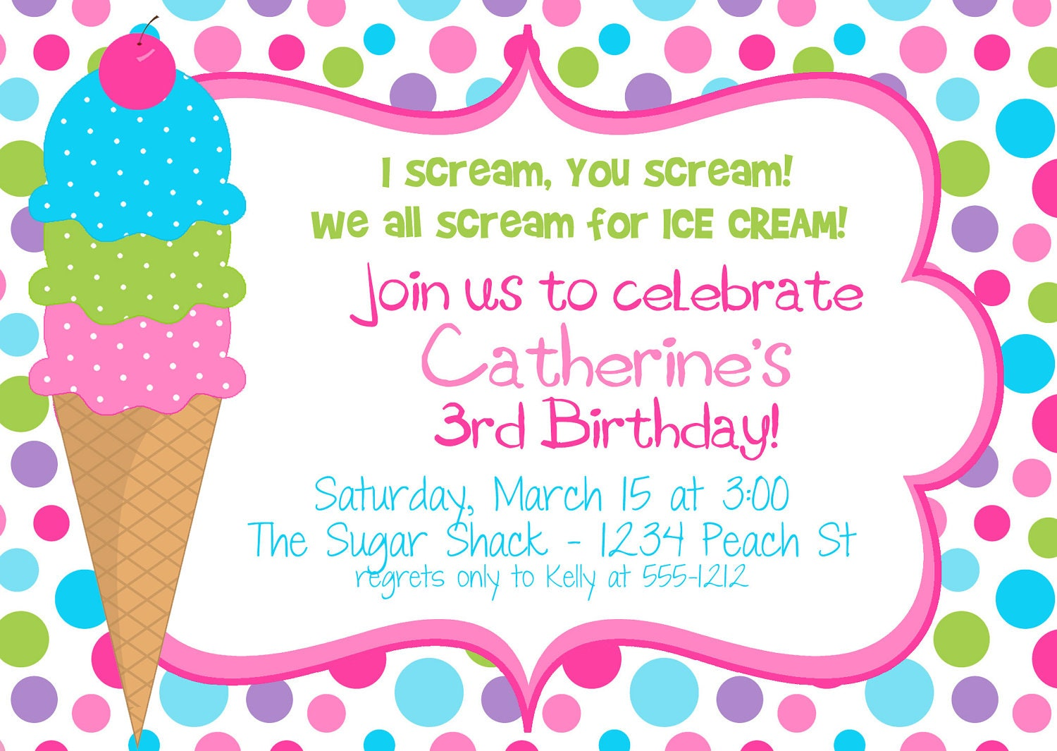 Icecream Birthday Party Invitation For GIRLS Digital File