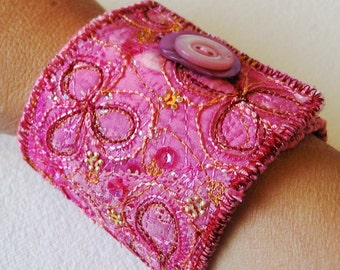 Pdf Digital Download Tutorial Textile Jewellery Cuff Bracelet by English Artist Jill Amanda Kennedy How To Project Free Motion Embroidery