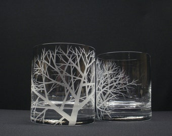 2 Double Old Fashioned Hand Engraved 'Reaching Branches' Crystal Glass Barware Whiskey Glass Father of The Bride Gift