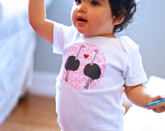 Olive the OSTRICH  Baby GIRL Bodysuit 0-24 Months Valentines Day