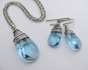 Bridesmaid Jewelry- Custom Wire Wrapped Swarovski Crystal and Antique Silver Necklace and Earrings Set- You Pick the Color