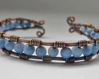 Copper Wire Wrapped Cuff Bracelet with Pale Blue Mother of Pearl