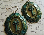 Patina Blue Key Frame Earrings/FREE SHIPPING