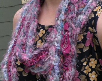 Crochet scarf, long purple multicolor fuzzy knit women's fashion, silk mohair wool, Fiji magenta pink blue skinny scarflette i840