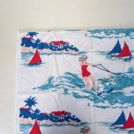 Vintage Beach Towel / 1950s Cannon Beach Towel / Water Ski Print