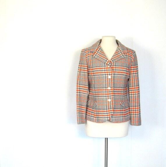 Vintage Plaid Jacket / 60s Jacket / Glen Plaid Women's Blazer / Medium M