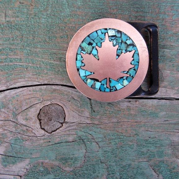 Brass Belt Buckle / Maple Leaf / 70s Belt Buckle