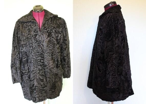 50s black persian lamb fur swing coat