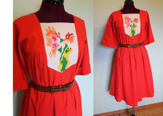 70s embroidered parrot tent Mexican dress