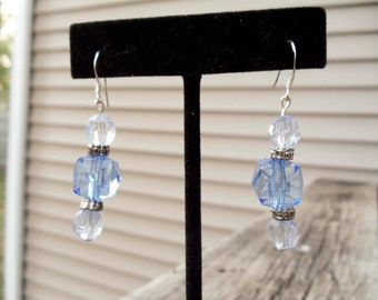 Blue Acrylic Vintage Beaded Dangle Earrings with silver findings