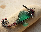 TEAL GREEN seahorse wire wrapped seaglass pendant.