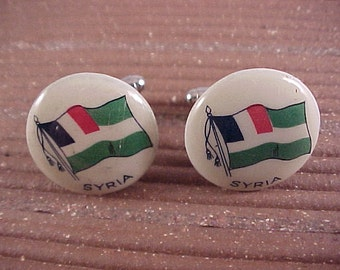 CLOSEOUT Cuff Links Vintage Pinback Button Syria Flag - Free Shipping to USA