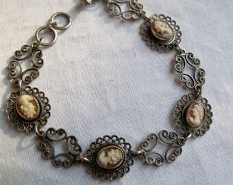 Antique Cameo Bracelet Sterling Silver Filigree Genuine Carved Shell