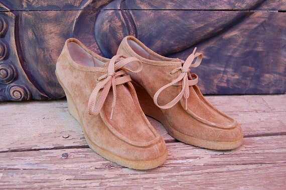 Size 7- Vintage Tan Suede Leather Michael Kors Wedge Heel Oxfords