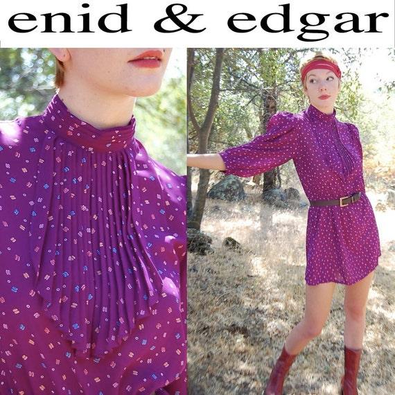 Secretary Mini Dress Vintage Violet Graphic Boho Hipster Secretary Granny Chic Mini Dress  (s)