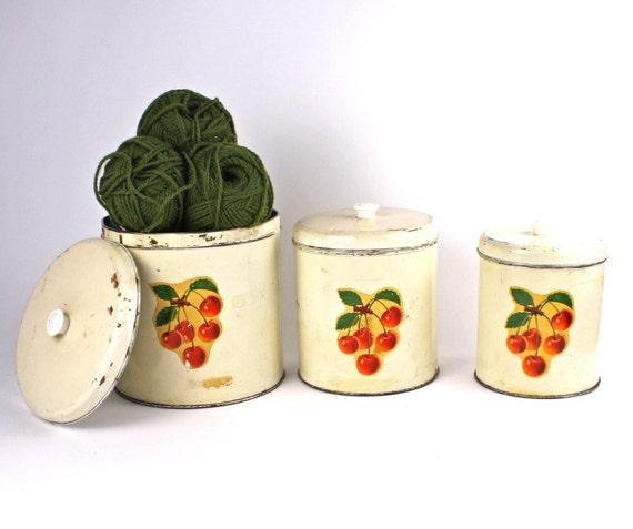 Shabby Cherries Vintage Canister Set of 3