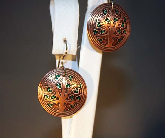 Tree of Life Earrings in Pure Copper