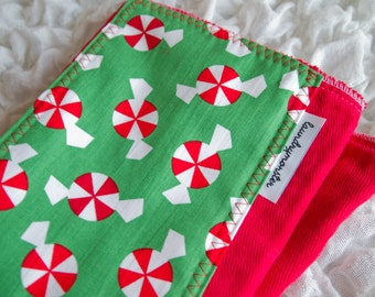 Baby burp cloth - Christmas candy hand dyed bright red burp cloth