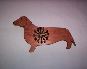 DACHSHUND wall clock, hand crafted and hand painted,   also pictured is my Black Lab clock