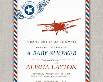 Precious Cargo Vintage Airplane Baby Shower Invitation