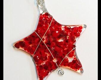 Glassworks Northwest - Brilliant Red Star - Fused Glass Ornament or Suncatcher