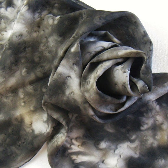 Silk Scarf - Licorice - Hand Painted Ladies Scarves Black White Gray Grey Charcoal