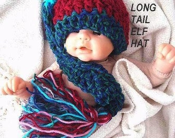 Hat CROCHET PATTERN - Long Tailed Elf or Pixie Hat, # 185, newborn  to adult