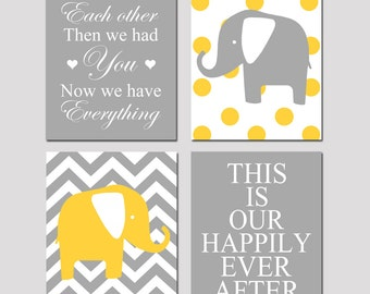 Modern Nursery Art Quad - Set of Four 8x10 Prints - Now We Have Everything, Chevron Elephant, Our Happily Ever After, Polka Dot Elephant