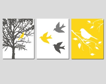 Modern Bird Nursery Art Trio - Set of Three 11x14 Prints - CHOOSE YOUR COLORS - Shown in Gunmetal Gray, Lemon Yellow, White, and More