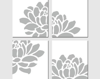 Floral Quad - Set of Four 8x10 Modern Floral Art Prints - CHOOSE YOUR COLORS - Shown in Gray, Pink, Aqua, Soft Yellow