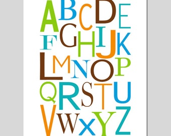 Modern Alphabet - 8x10 - Nursery Kids Art Print - CHOOSE YOUR COLORS - Shown in Apple Green, Orange, Chocolate Brown, Turquoise, Waters Blue