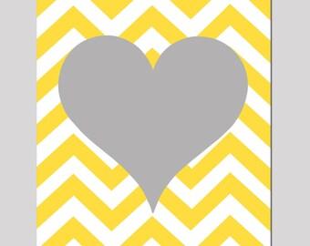 Chevron Heart - 8x10 Print - Nursery Art - Kids Wall Art - Tween - CHOOSE YOUR COLORS