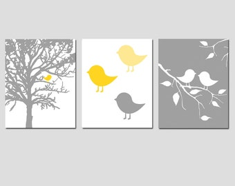 Modern Baby Bird Trio - Set of Three 8x10 Prints - Nursery Decor - Baby Bird in Tree - Kids Wall Art - Choose Your Colors - Yellow and Gray