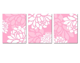 Large Scale Floral Trio - Set of Three 8x10 Coordinating Floral Nursery Prints - CHOOSE YOUR COLORS - Shown in Pink, Light Pink, White